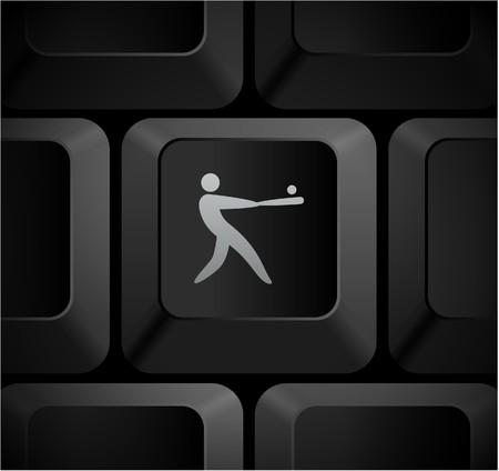 homerun: Baseball Icon on Computer Keyboard Original Illustration Stock Photo