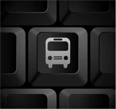 shortcut: Bus Icon on Computer Keyboard Original Illustration