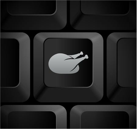 Turkey Icon on Computer Keyboard Original Illustration illustration