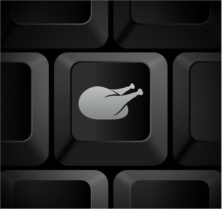 Turkey Icon on Computer KeyboardOriginal Illustration Stock Illustration - 7568210
