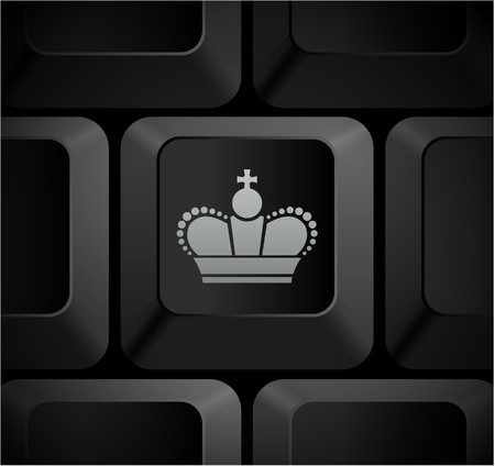 shortcut: Crown Icon on Computer Keyboard Original Illustration
