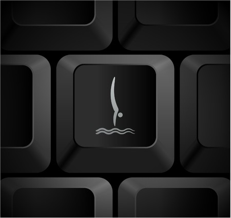 Diving Icon on Computer Keyboard Original Illustration