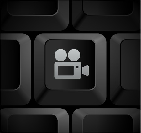 Film Camera Icon on Computer Keyboard Original Illustration illustration