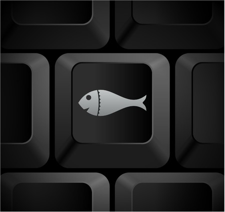 Fish Icon on Computer Keyboard Original Illustration illustration