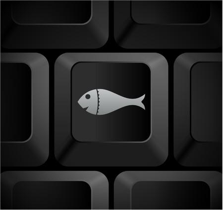 shortcut: Fish Icon on Computer Keyboard Original Illustration Stock Photo
