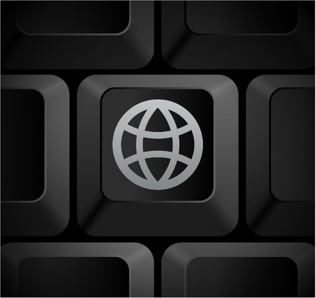 shortcut: Globe Icon on Computer Keyboard Original Illustration