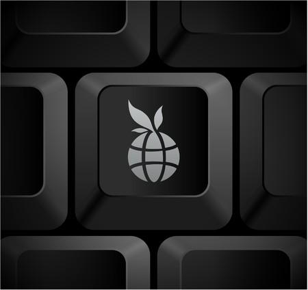 Globe Icon on Computer Keyboard Original Illustration