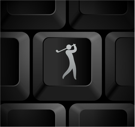 Golf Icon on Computer Keyboard Original Illustration Imagens