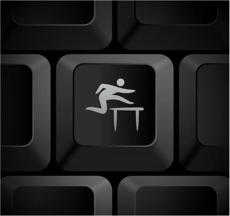 shortcut: Hurdles Icon on Computer Keyboard Original Illustration