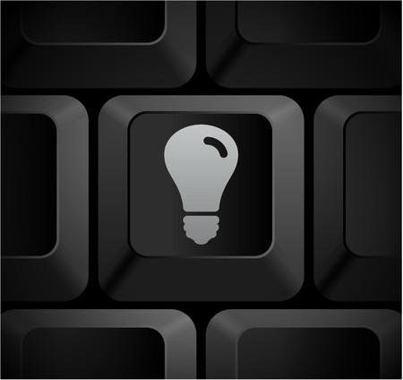 shortcut: Light Bulb Icon on Computer Keyboard Original Illustration