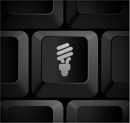 Fluorescent Light Bulb Icon on Computer Keyboard Original Illustration