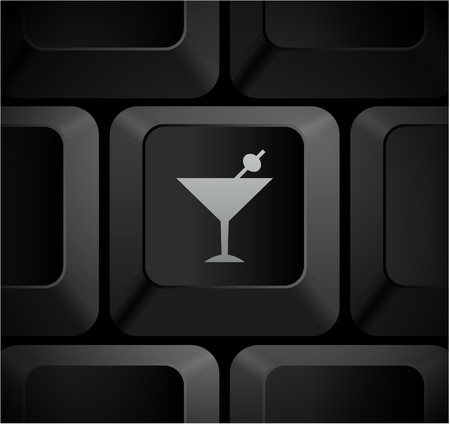 Martini Icon on Computer Keyboard Original Illustration