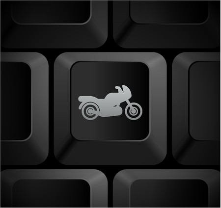 Motorcycle Icon on Computer Keyboard Original Illustration illustration