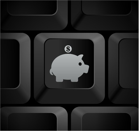 Piggy Bank Icon on Computer Keyboard Original Illustration illustration