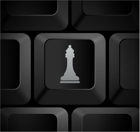 Chess Queen Icon on Computer KeyboardOriginal Illustration Stock Illustration - 7567945