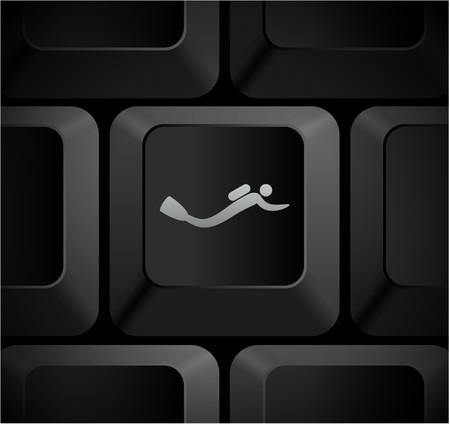 Scuba Icon on Computer Keyboard Original Illustration