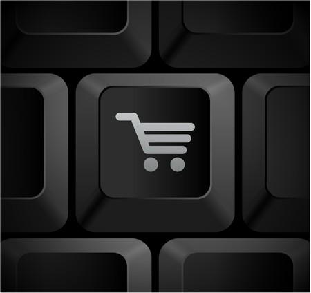 Shopping Cart Icon on Computer KeyboardOriginal Illustration