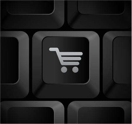 Shopping Cart Icon on Computer Keyboard Original Illustration Banco de Imagens