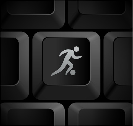 Soccer Icon on Computer Keyboard Original Illustration illustration