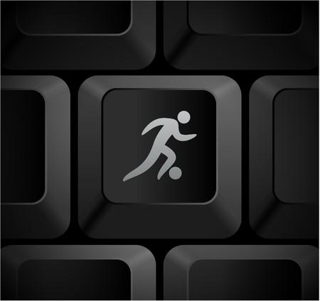 Voet bal pictogram op Computer toetsen bord Originele illustratie