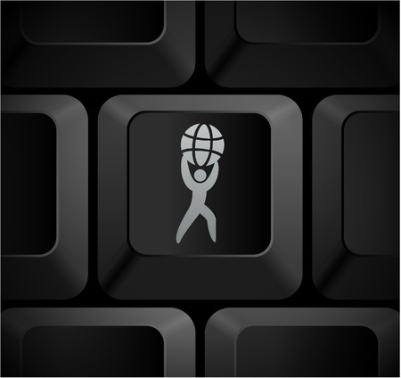World Strength Icon on Computer Keyboard Original Illustration illustration