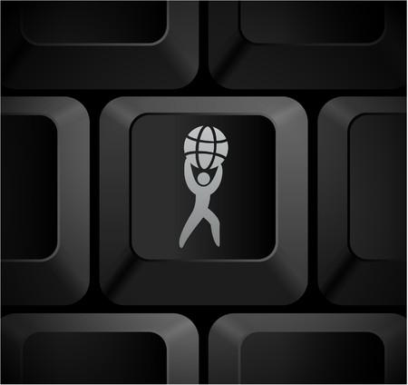 shortcut: World Strength Icon on Computer Keyboard Original Illustration Stock Photo