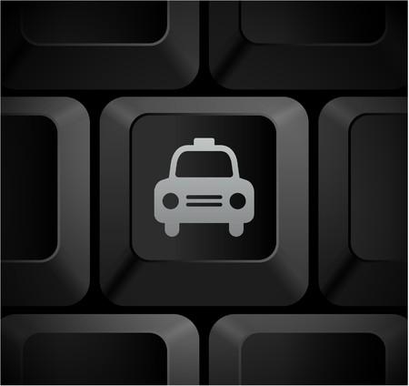 Taxi Cab Icon on Computer Keyboard Original Illustration Stock Photo