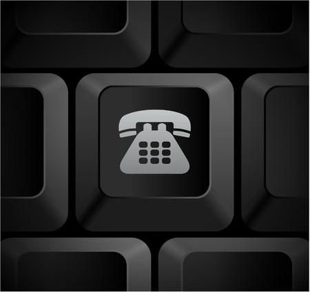 shortcut: Telephone Icon on Computer Keyboard Original Illustration