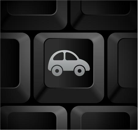 Car Icon on Computer KeyboardOriginal Illustration Stockfoto