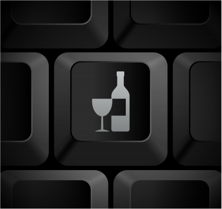 Wine Icon on Computer Keyboard Original Illustration illustration