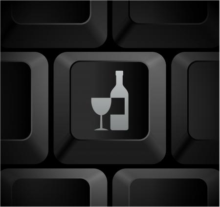 Wine Icon on Computer KeyboardOriginal Illustration Stock fotó
