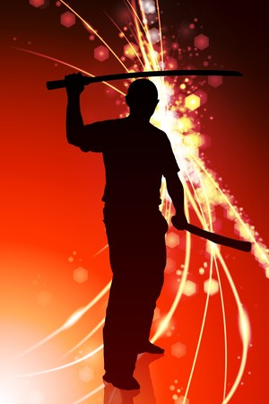 sensei: Karate Sensei with Sword on Abstract Light Background Original Illustration Stock Photo