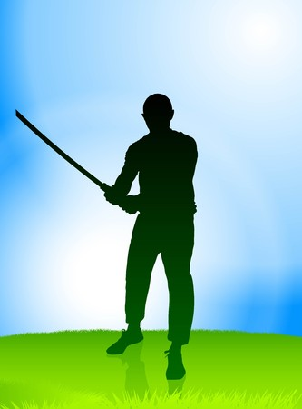 sensei: Karate Sensei with Sword on Nature Background Original Illustration Stock Photo
