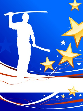 sensei: Karate Sensei with Sword on Abstract USA Flag Background Original Illustration