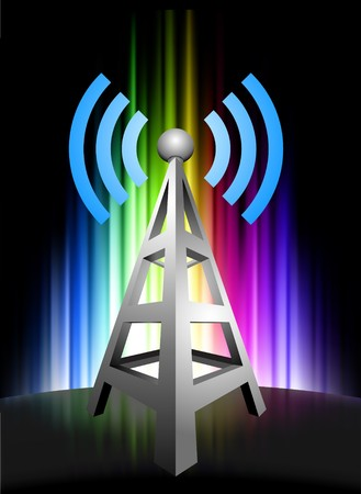 light transmission: Radio Tower on Abstract Spectrum Background Original Illustration