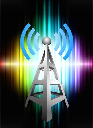 Radio Tower on Abstract Spectrum Background Original Illustration illustration