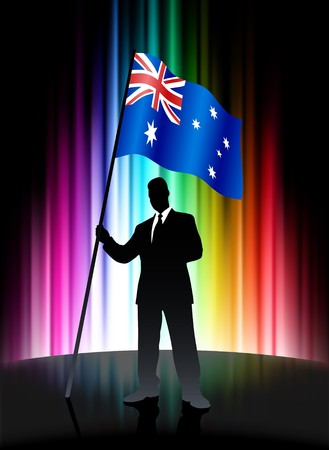 Australia Flag with Businessman on Abstract Spectrum Background