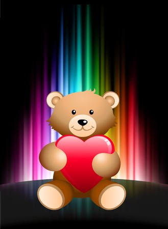 Teddy Bear on Abstract Spectrum Background