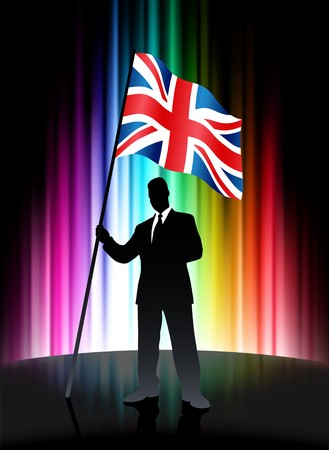 United Kingdom Flag with Businessman on Abstract Spectrum Background