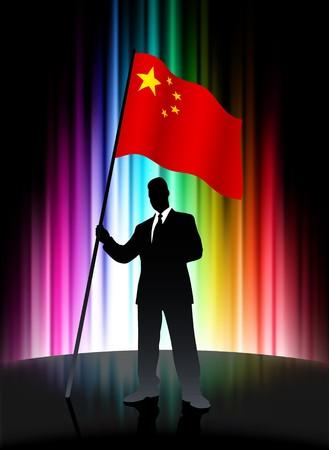 China Flag with Businessman on Abstract Spectrum BackgroundOriginal Illustration Stock Illustration - 7569182