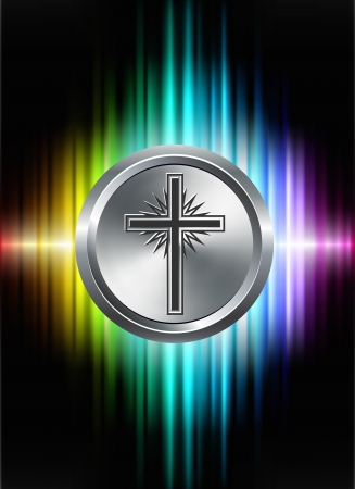 jesus cross: Cross Icon Button on Abstract Spectrum Background Original Illustration Stock Photo