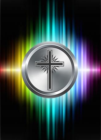 Kruis knoop van het pictogram op abstracte Spectrum achtergrond Oorspronkelijke afbeelding