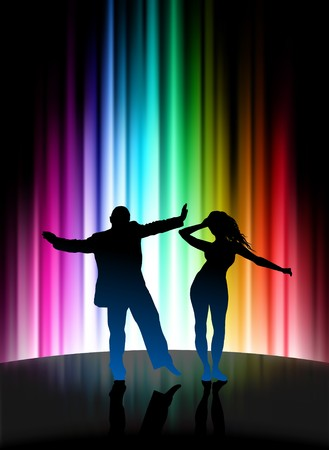 Party Couple on Abstract Spectrum Background Original Illustration illustration