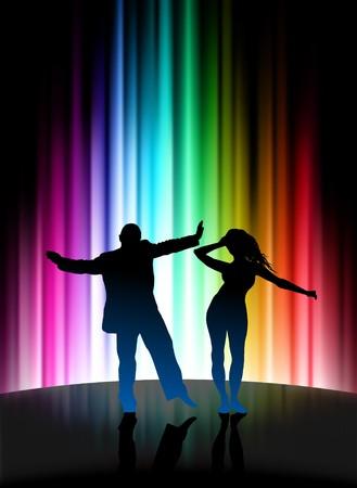 Party Couple on Abstract Spectrum BackgroundOriginal Illustration