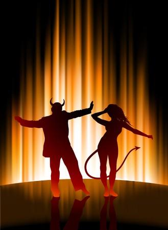 抽象的なスペクトルの背景に地獄パーティーオリジナル イラスト 写真素材