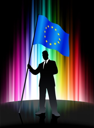 European Union Flag with Businessman on Abstract Spectrum BackgroundOriginal Illustration Stock Illustration - 7569208