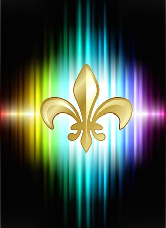 shiny background: Fleur De Lis on Abstract Spectrum Background  Original Illustration