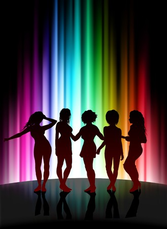 violet red: Fun Party on Abstract Spectrum Background Original Illustration Stock Photo
