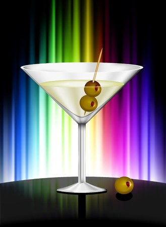 Martini on Abstract Spectrum Background Original Illustration Reklamní fotografie