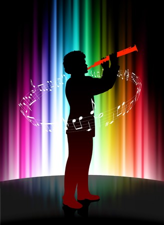 Live Musician on Abstract Spectrum Background Original Illustration illustration